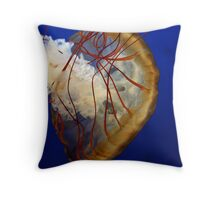 Jellyfish with red tendrils Throw Pillow