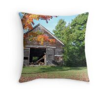 Delapidated Barn in Autumn Throw Pillow