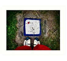 Still life with shoes and white stone Art Print