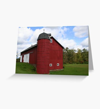 REDREAMING BARN WITH SILO Greeting Card