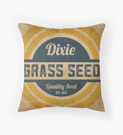 Vintage Burlap Dixie Grass Seed Sack Throw Pillow
