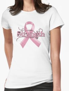 Strength Pink Ribbon Womens Fitted T-Shirt