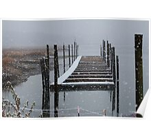 Snowy Day at the Nissequogue Boat Slips Poster