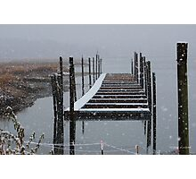 Snowy Day at the Nissequogue Boat Slips Photographic Print