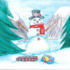 Snowman Christmas by pookiesart