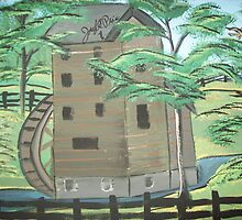 water mill inside of black fence by joseph  price