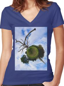 Dead Elm Tree in Brooke Park, Derry Women's Fitted V-Neck T-Shirt