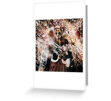 Crowned horror prom queen celebrating dead reunion Greeting Card