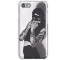 Realism Charcoal Drawing of Girl in Cat Mask with Tattoos iPhone Case/Skin
