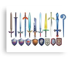 The Legend of Zelda, swords and shields Canvas Print