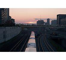 GO Train at Sunset Photographic Print