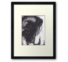 Realism Charcoal Drawing of Sexy Demon Woman Framed Print