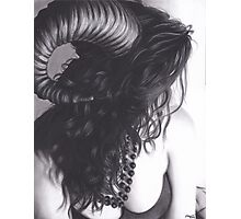 Realism Charcoal Drawing of Sexy Demon Woman Photographic Print