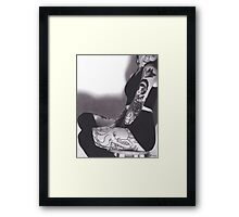 Realism Charcoal Drawing of Sexy Woman with Tattoos Framed Print