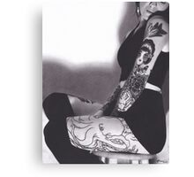 Realism Charcoal Drawing of Sexy Woman with Tattoos Canvas Print