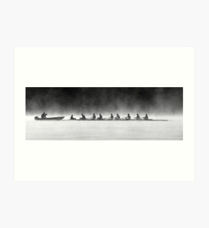 Rowing on a Misty Morning Art Print
