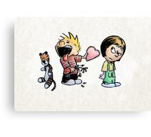 Calvin and Hobbes and Susie Fan Art Canvas Print