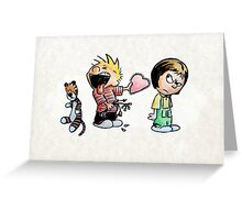 Calvin and Hobbes and Susie Fan Art Greeting Card