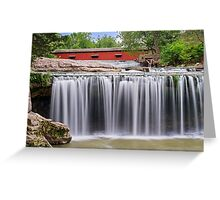 Waterfall and Red Covered Bridge Greeting Card