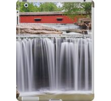 Waterfall and Red Covered Bridge iPad Case/Skin