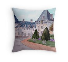 Watercolour                      Chateau  du Mung  Throw Pillow