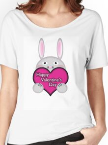 Cute Bunny with Pink Valentine's Day Heart Wishes Women's Relaxed Fit T-Shirt