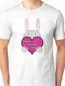 Cute Bunny with Pink Valentine's Day Heart Wishes Unisex T-Shirt