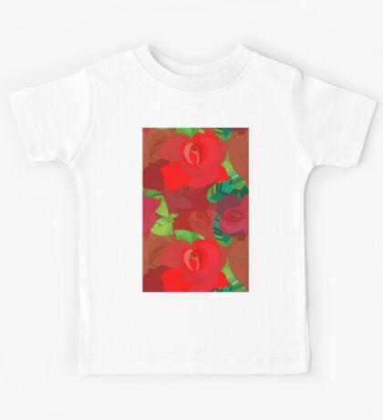Red roses pattern Kids Tee