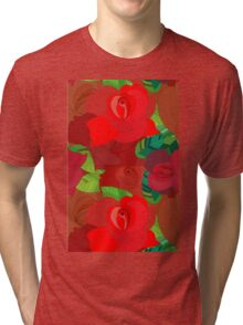 Red roses pattern Tri-blend T-Shirt
