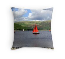 Red Sails Blustery Sky Throw Pillow