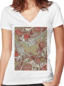 Ornate pattern Women's Fitted V-Neck T-Shirt
