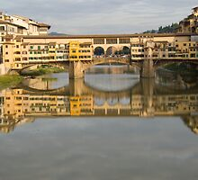 Ponte Vecchio reflection on the Arno river Florence Italy by Moshe Cohen