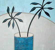 Leaves in blue vase by natasa sears