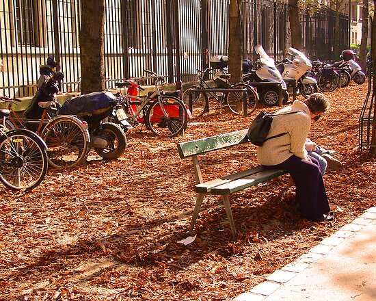 Woman and Child on Bench, Quartier Latin by APhillips