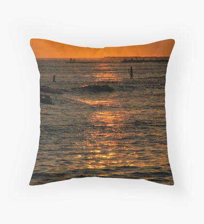 Sunset Surfers Throw Pillow