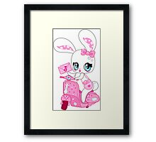 Glamorous cute bunny on a pink scooter with valentines Framed Print