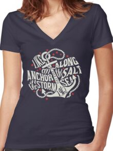 Like an Anchor In The Storm Women's Fitted V-Neck T-Shirt
