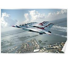Thunderbirds - F-16 Fighting Falcaon - US Air Force Display Team - USAF - Great Aviation Photo Poster