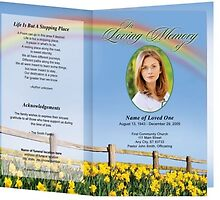 Rainbow Printable Funeral Program Template by candysalena