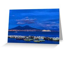 Blue Night in Naples - Mediterranean Impressions Greeting Card