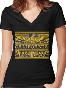 California Black & Gold Label Plaque Women's Fitted V-Neck T-Shirt
