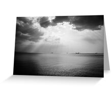 Sunrays scattered by clouds over Trieste Bay Greeting Card