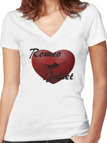 Romeo+Juliet broken heart Women's Fitted V-Neck T-Shirt