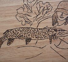 Pike pyrography by Marina Kropec