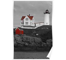 Cape Neddick Black & White w/ Red Roof Poster