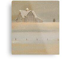 """Quiet Snow"" Old Barn on the Farm Metal Print"