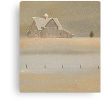 """Quiet Snow"" Old Barn on the Farm Canvas Print"