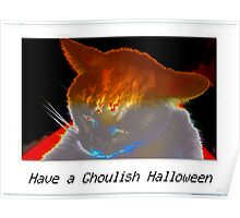 Ghoulish white cat Poster