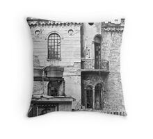 old man and castle Throw Pillow