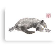 Dreamer kitten sumi-e painting Canvas Print